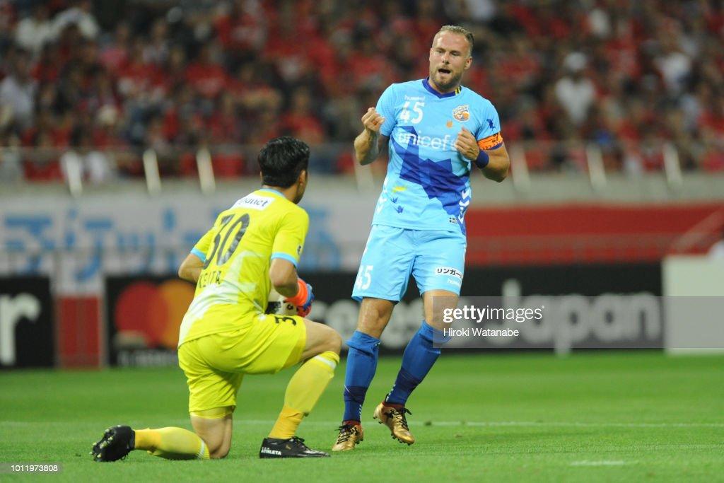 Jordy Buijs of V-Varen Nagasaki in action during the J.League J1 match between Urawa Red Diamonds and V-Varen Nagasaki at Saitama Stadium on August 5, 2018 in Saitama, Japan.