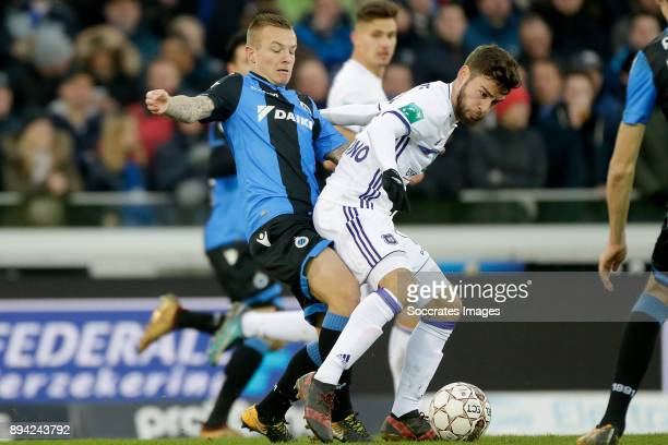 Jordy Clasie of Club Brugge Leander Dendoncker of RSC Anderlecht during the Belgium Pro League match between Club Brugge v Anderlecht at the Jan...