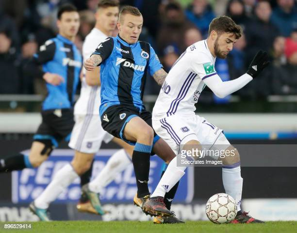 Jordy Clasie of Club Brugge Massimo Bruno of RSC Anderlecht during the Belgium Pro League match between Club Brugge v Anderlecht at the Jan Breydel...