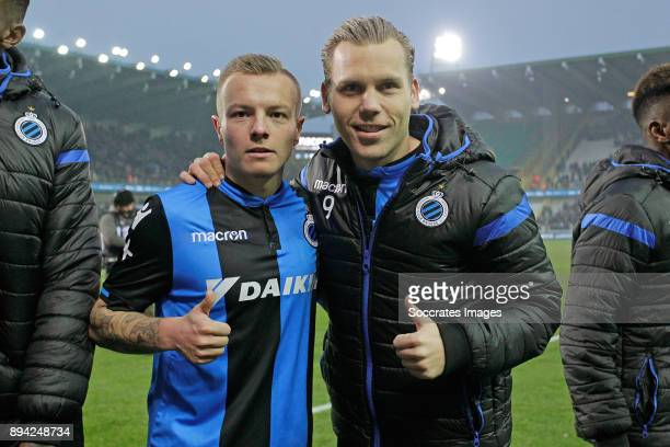 Jordy Clasie of Club Brugge Ruud Vormer of Club Brugge celebrates the victory during the Belgium Pro League match between Club Brugge v Anderlecht at...