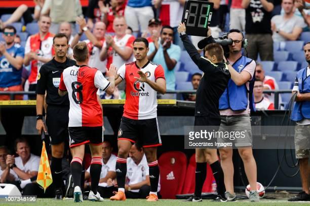 Jordy Clasie of Feyenoord Sofyan Amrabat of Feyenoord during the Club Friendly match between Feyenoord v Levante at the Stadium Feijenoord on July 29...