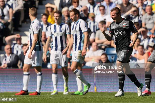 Jordy Clasie of Southampton celebrates after scoring a goal to make it 01 during the Premier League match between West Bromwich Albion and...