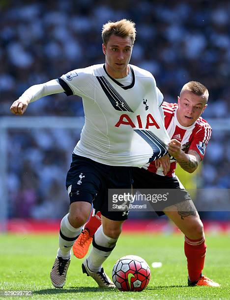 Jordy Clasie of Southampton chases down Christian Eriksen of Tottenham Hotspur during the Barclays Premier League match between Tottenham Hotspur and...