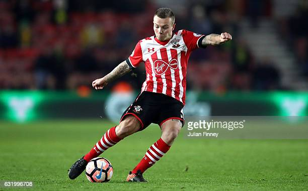 Jordy Clasie of Southampton shoots during The Emirates FA Cup Third Round Replay match between Southampton and Norwich City at St Mary's Stadium on...