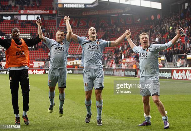 Jordy Clasie Ron Vlaar and John Guidetti of Feyenoord celebrate during the Dutch Eredivisie match between FC Twente and Feyenoord at the Grolsch...
