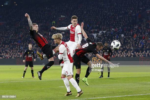 Jordy de Wijs of Excelsior Kasper Dolberg of Ajax Maximilian Wober of Ajax Kevin Vermeulen of Excelsior during the Dutch Eredivisie match between...