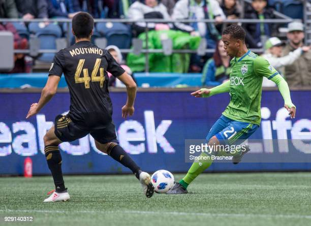 Jordy Delem of the Seattle Sounders passes the ball as Moutinho Joao of Los Angeles FC defends during a match at CenturyLink Field on March 4 2018 in...