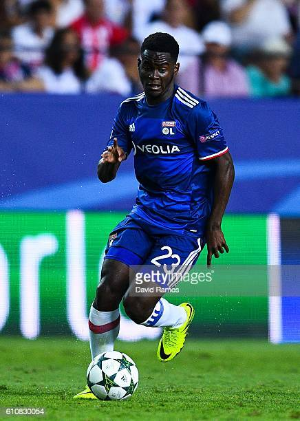 Jordy Gaspar of Olympique Lyonnais runs with the ball during the UEFA Champions League Group H match between Sevilla FC and Olympique Lyonnais at the...
