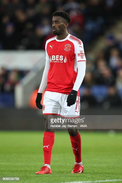 Jordy Hiwula of Fleetwood Town during The Emirates FA Cup Third Round Replay match between Leicester City and Fleetwood Town at The King Power...