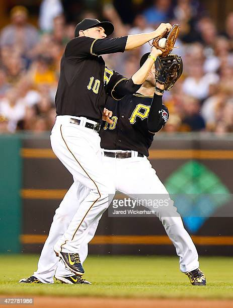 Jordy Mercer and Neil Walker of the Pittsburgh Pirates attempt to make a catch in the fourth inning against the St Louis Cardinals during the game at...