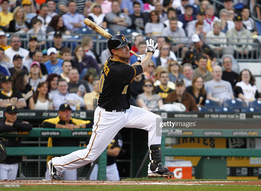 Jordy Mercer #10 of the Pittsburgh Pirates bats against the Washington Nationals during the game on May 3, 2013 at PNC Park in Pittsburgh, Pennsylvania.