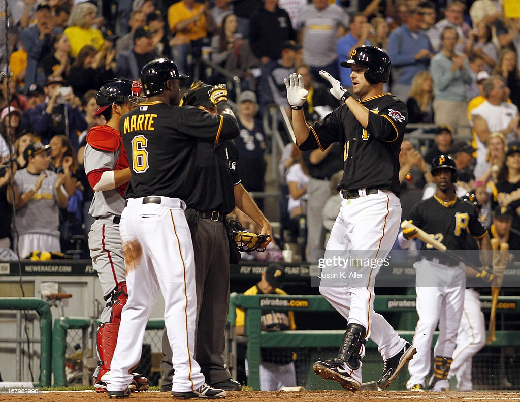 Jordy Mercer #10 of the Pittsburgh Pirates celebrates after hitting a two-run home run in the fifth inning against the Washington Nationals during the game on May 3, 2013 at PNC Park in Pittsburgh, Pennsylvania.