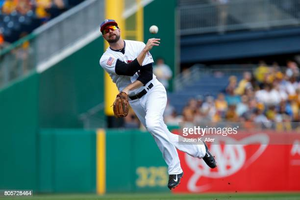 Jordy Mercer of the Pittsburgh Pirates fields a ground ball in the third inning against the San Francisco Giants at PNC Park on July 2 2017 in...