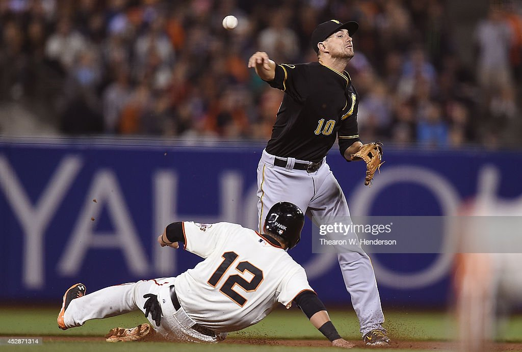 Jordy Mercer #10 of the Pittsburgh Pirates gets his throw off to complete the double-play over the top of Joe Panik #12 of the San Francisco Giants in the bottom of the seventh inning at AT&T Park on July 28, 2014 in San Francisco, California.