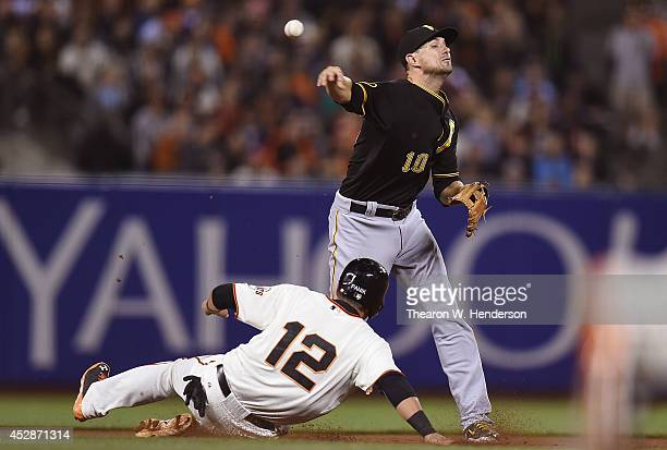 Jordy Mercer of the Pittsburgh Pirates gets his throw off to complete the doubleplay over the top of Joe Panik of the San Francisco Giants in the...