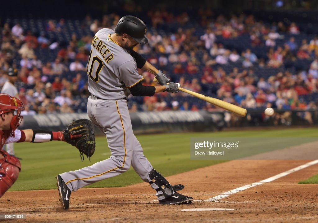 Jordy Mercer #10 of the Pittsburgh Pirates hits a single in the eighth inning against the Philadelphia Phillies at Citizens Bank Park on July 5, 2017 in Philadelphia, Pennsylvania. The Pirates won 5-2.