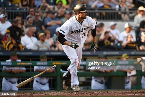 Jordy Mercer of the Pittsburgh Pirates singles to center field in the sixth inning during the game against the Arizona Diamondbacks at PNC Park on...