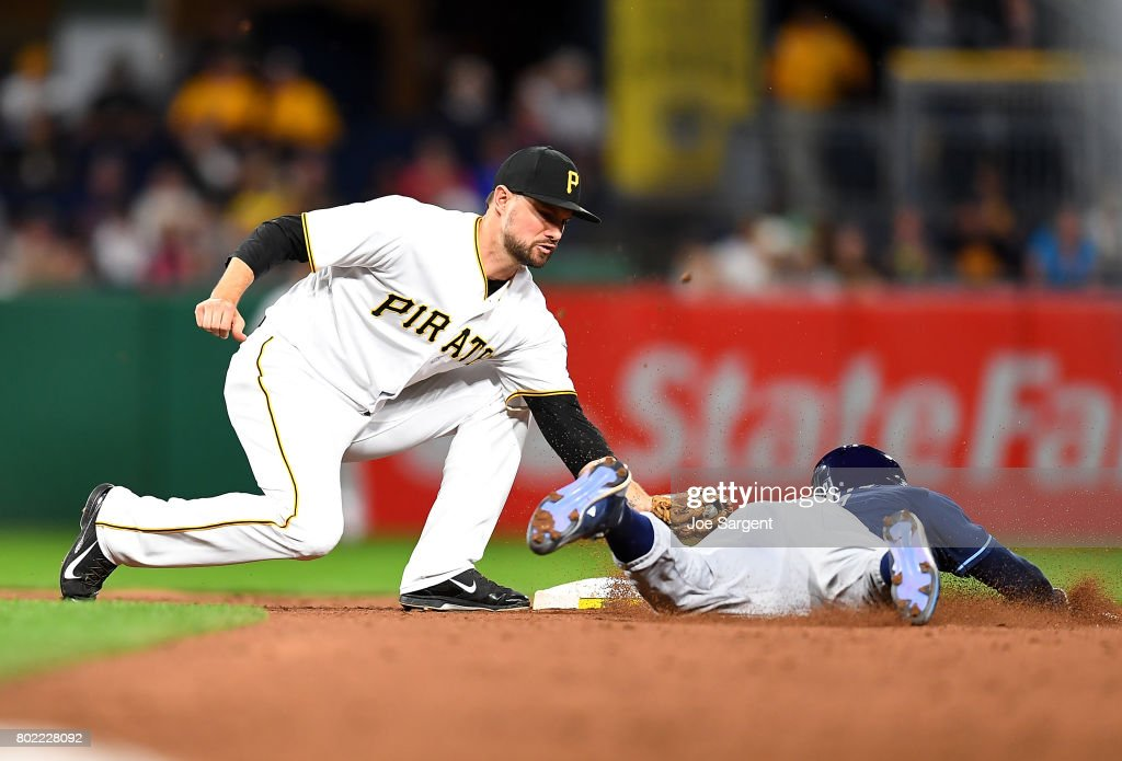 Jordy Mercer #10 of the Pittsburgh Pirates tags Mallex Smith #0 of the Tampa Bay Rays out after attempting to steal second base during the eighth inning at PNC Park on June 27, 2017 in Pittsburgh, Pennsylvania.