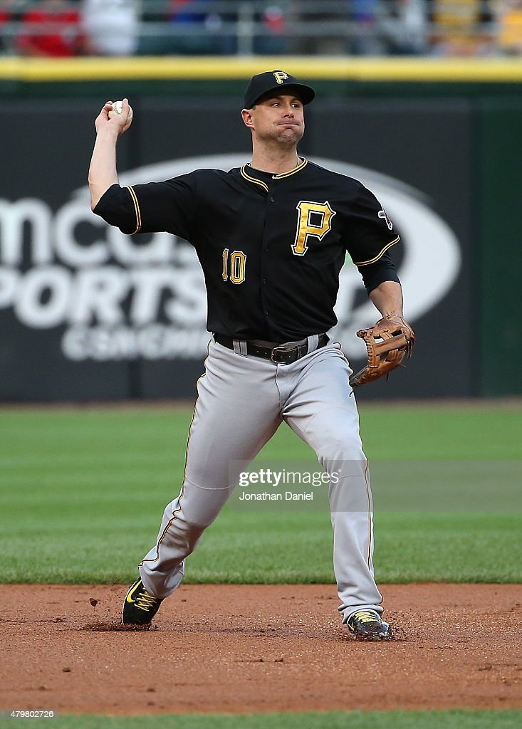 Jordy Mercer #10 of the Pittsburgh Pirates throws out a Chicago White Sox runner at U.S. Cellular Field on June 17, 2015 in Chicago, Illinois. The Pirates defeated the White Sox 3-2.