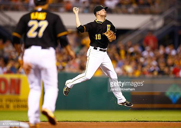 Jordy Mercer of the Pittsburgh Pirates turns and throws to first base for the out in the ninth inning against the St Louis Cardinals during the game...
