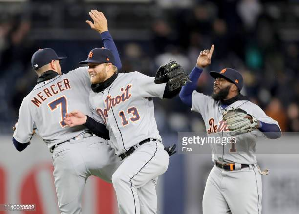 Jordy MercerDustin Peterson and Josh Harrison of the Detroit Tigers celebrate the 31 win over the New York Yankees at Yankee Stadium on April 02 2019...