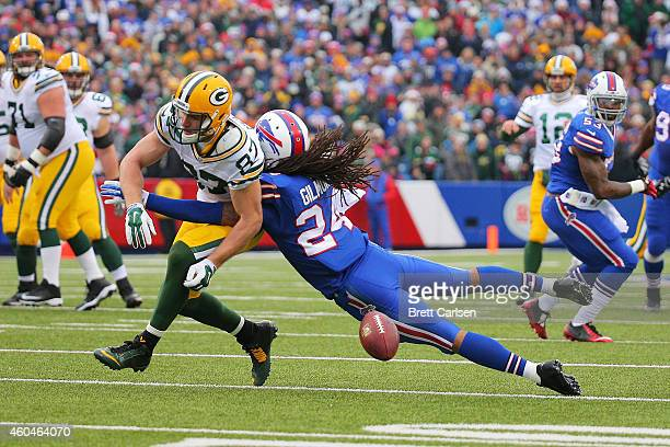 Jordy Nelson of the Green Bay Packers has a reception broken up by Stephon Gilmore of the Buffalo Bills during the first half at Ralph Wilson Stadium...