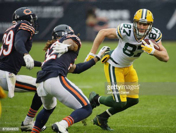 Jordy Nelson of the Green Bay Packers moves after a catch against Eddie Jackson and Cre'von LeBlanc of the Chicago Bears at Soldier Field on November...