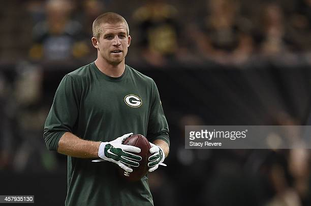 Jordy Nelson of the Green Bay Packers participates in warmups prior to a game against the New Orleans Saints at the MercedesBenz Superdome on October...