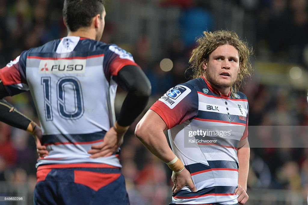 Jordy Reid of the Rebels (R) looks dejected after conceding a try during the round 16 Super Rugby match between the Crusaders and the Rebels at AMI Stadium on July 9, 2016 in Christchurch, New Zealand.