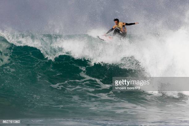 Jordy Smith from South Africa performs during the Quicksilver Pro France surf competition on October 12 2017 in Hossegor France he French stage of...