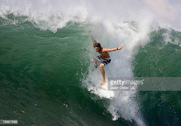 Jordy Smith of South Africa performs an aerial manoeuvre at Keramas Beach September 24 2006 in Bali Indonesia