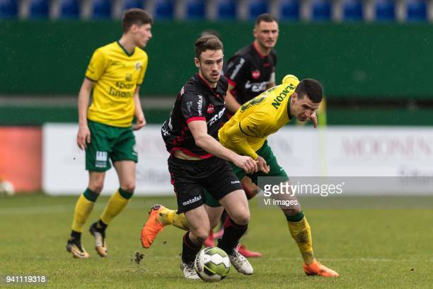 Jordy Thomassen of Helmond Sport Lazar Kojic of Fortuna Sittard during the Jupiler League match between Fortuna Sittard and Helmond Sport at the...