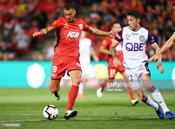 Jordy Thomasson of Adelaide United kicks for goal during the round 22 A-League match between Adelaide United and the Perth Glory at Coopers Stadium...