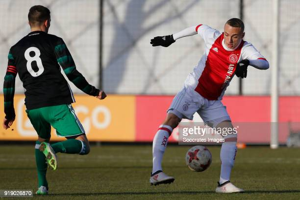 Jordy Wehrmann of Feyenoord U19 Noa Lang of Ajax U19 during the match between Ajax U19 v Feyenoord U19 at the De Toekomst on February 16 2018 in...
