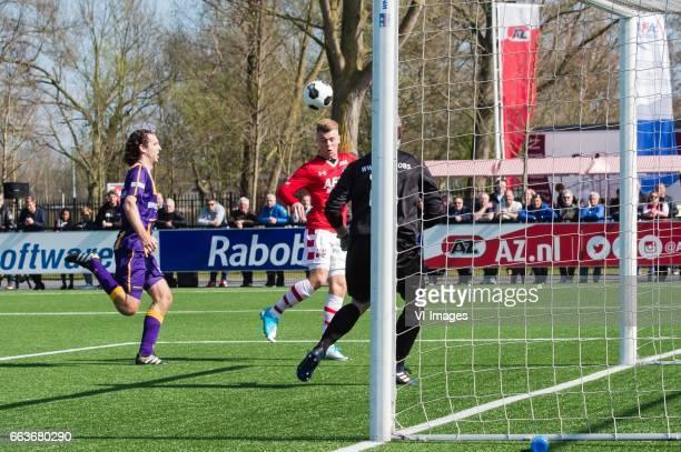 Jordy Zwart of VVSB Jamie Jacobs of Jong AZ goalkeeper Ruben Valk of VVSBduring the Dutch Eredivisie match between young AZ Alkmaar and VVSB at AFAS...