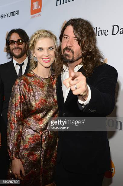 Jordyn Blum and Dave Grohl attend the 2016 PreGRAMMY Gala and Salute to Industry Icons honoring Irving Azoff at The Beverly Hilton Hotel on February...