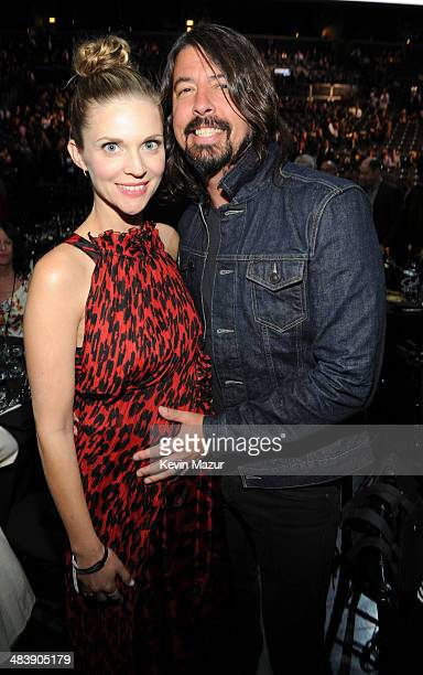 Jordyn Blum and Dave Grohl attend the 29th Annual Rock And Roll Hall Of Fame Induction Ceremony at Barclays Center of Brooklyn on April 10 2014 in...