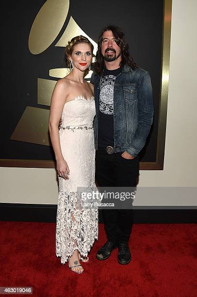 Jordyn Blum and musician Dave Grohl attend The 57th Annual GRAMMY Awards at the STAPLES Center on February 8 2015 in Los Angeles California