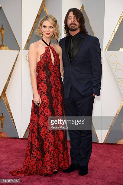 Jordyn Blum and musician Dave Grohl attend the 88th Annual Academy Awards at Hollywood Highland Center on February 28 2016 in Hollywood California