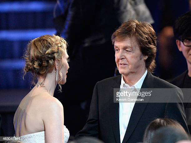Jordyn Blum and musician Paul McCartney attend The 57th Annual GRAMMY Awards at the at the STAPLES Center on February 8 2015 in Los Angeles California