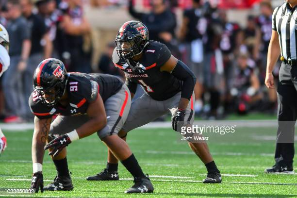 Jordyn Brooks of the Texas Tech Red Raiders at the line of scrimmage during the game against the Lamar Cardinals on September 08 2018 at Jones ATT...