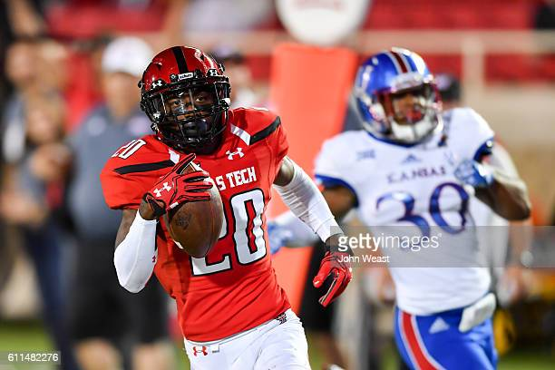 Jordyn Brooks of the Texas Tech Red Raiders makes the catch and scores during the game against the Kansas Jayhawks on September 29 2016 at ATT Jones...