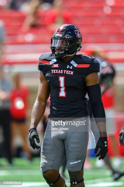 Jordyn Brooks of the Texas Tech Red Raiders on the field during warmups before the game against the Lamar Cardinals during the game on September 08...