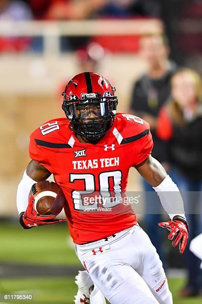 Jordyn Brooks of the Texas Tech Red Raiders runs with the ball during the game against the Kansas Jayhawks on September 29 2016 at ATT Jones Stadium...