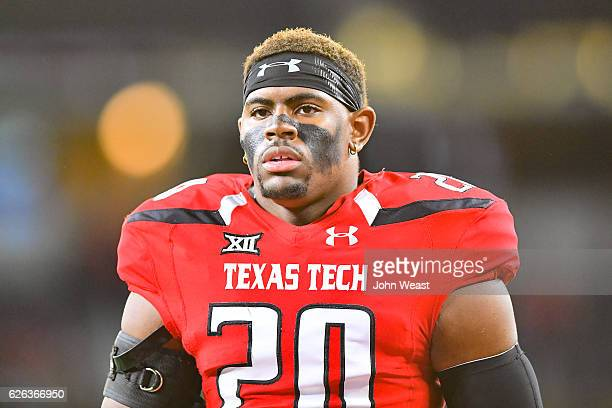 Jordyn Brooks of the Texas Tech Red Raiders stands on the field before the game against the Baylor Bears on November 25 2016 at ATT Stadium in...