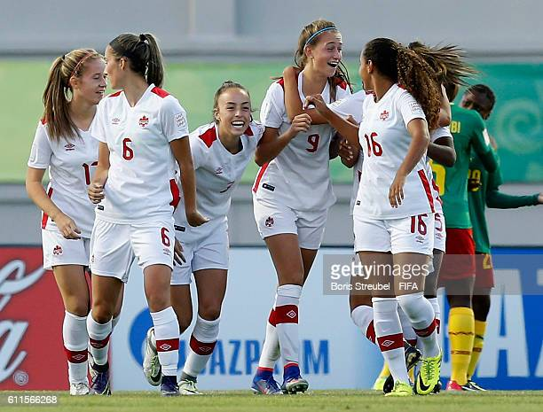 Jordyn Huitema of Canada celebrates her team's first goal with team mates during the FIFA U17 Women's World Cup Group B match between Cameroon and...