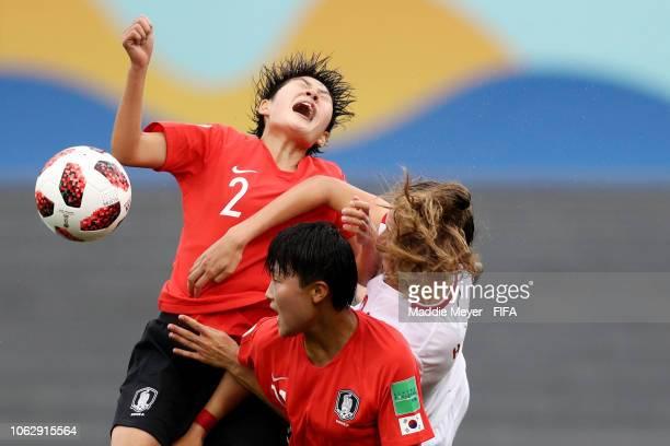Jordyn Huitema of Canada fouls Kin Minji of Korea Republic battling for a ball out of the air during the FIFA U17 Women's World Cup Uruguay 2018...