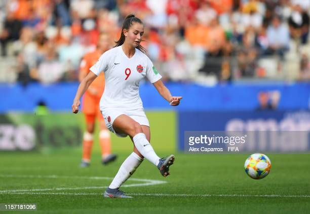 Jordyn Huitema of Canada in action during the 2019 FIFA Women's World Cup France group E match between Netherlands and Canada at Stade Auguste...