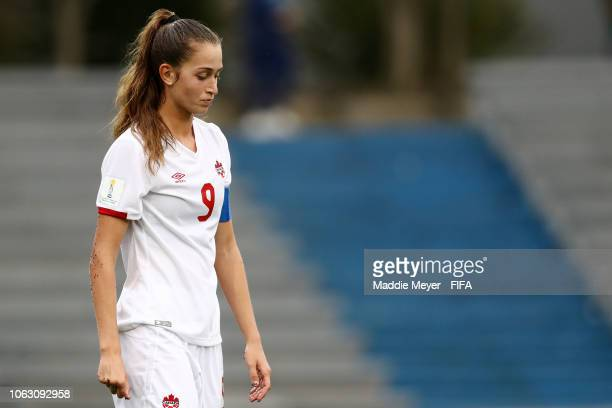 Jordyn Huitema of Canada walks to the locker room at half time during the FIFA U17 Women's World Cup Uruguay 2018 group D match between Korea...