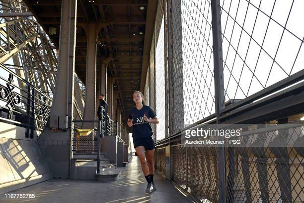 Jordyn Huitema of Paris Saint Germain Women runs up the stairs as part of a training session at Eiffel Tower on August 13 2019 in Paris France